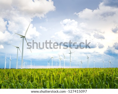 Wind Turbines and corn Fields on a Cloudy Day,Ecological energy composition