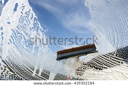 Windshield Washing - stock photo
