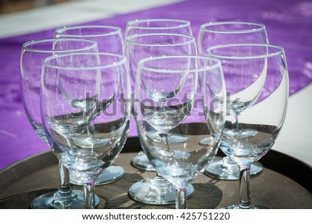 Wine glasses on the wedding table in wedding dinner ceremony.