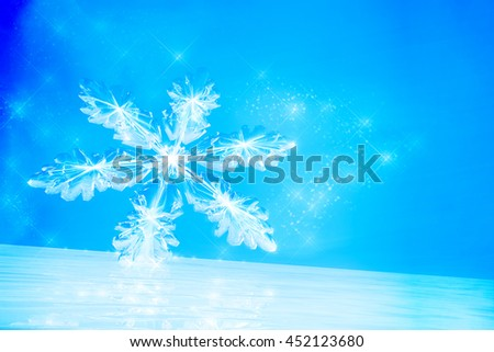 Winter background with Snowflake on ice.  3D illustration - stock photo
