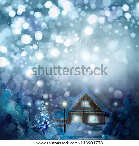 Winter landscape. Merry Christmas! - stock photo
