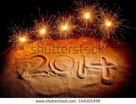 2014 with fireworks - stock photo