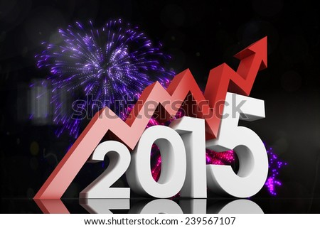 2015 with red arrow against colourful fireworks exploding on black background