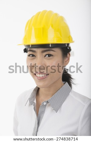 woman construction worker with hard hat  - stock photo