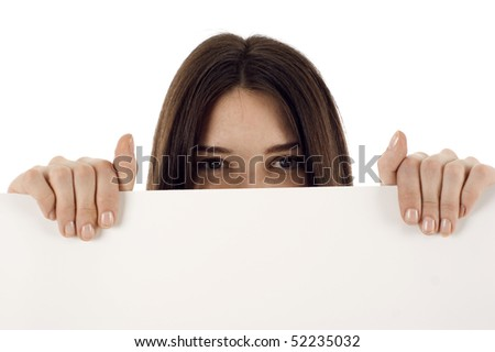 Woman covering her face with a white banner ad isolated - stock photo