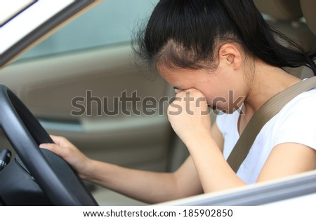 woman driver in car  - stock photo