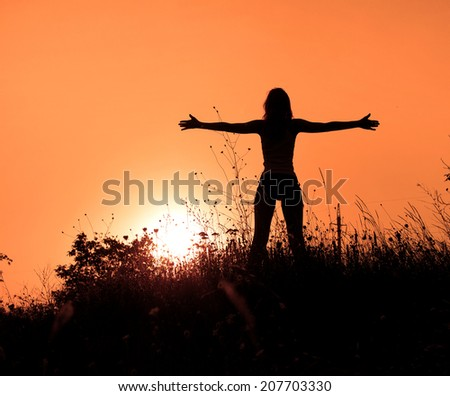 woman enjoy sunrise