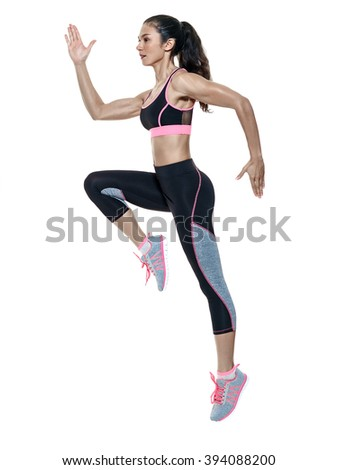 woman fitness exercises isolated - stock photo