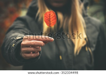 Woman hand giving autumn red leaf melancholy concept Travel Lifestyle moody colors  - stock photo