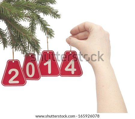 woman hand hanging a number 2014 on fir tree branch - stock photo