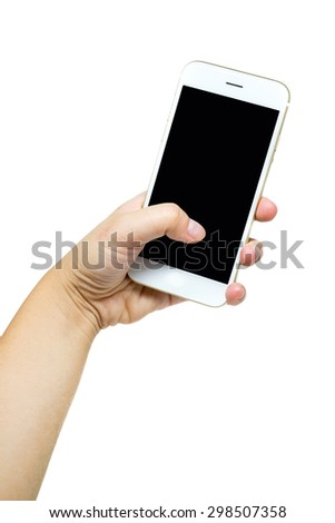 woman hand holding the white phone with black screen isolated on white background - stock photo