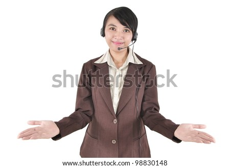 Woman operator with headset showing hand, isolated on white background - stock photo