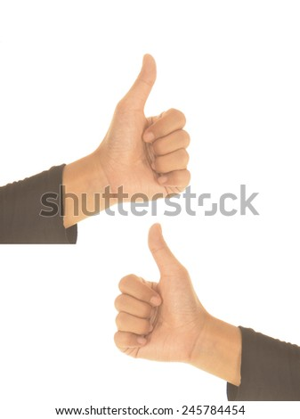woman's hand, thumb isolated on white background