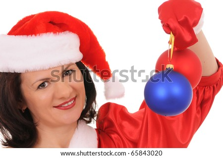 woman santa with christmas decoration isolated on white background
