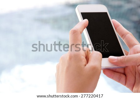 Woman Using a Smart Phone background