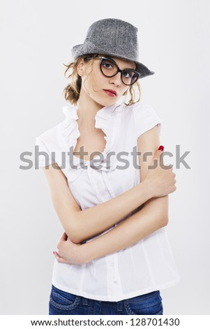 Woman With Glasses And Red Lipstick . Professional make-up