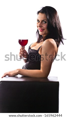 woman with red wine , isolated on white - stock photo