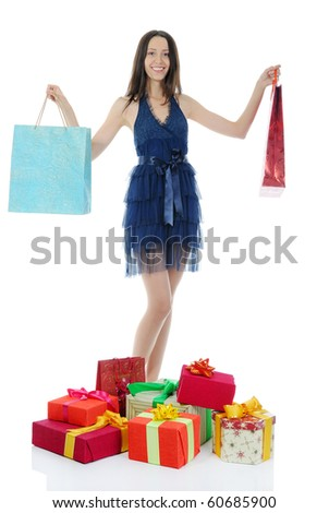 women with shopping bags. Isolated on white background