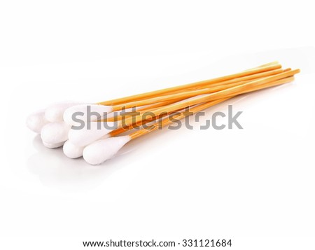Wood, cotton buds isolated on white background - stock photo