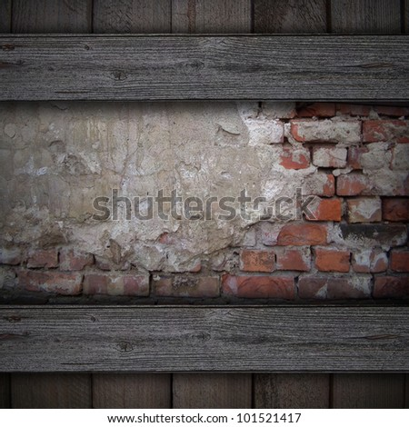 wood frame on a wall of bricks