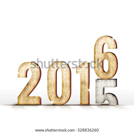 2015 wood number year change to 2016 year in white studio room, New year concept. - stock photo