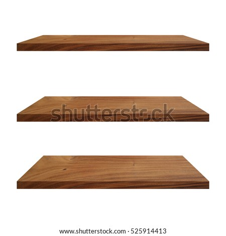 3 Wood Shelves Table isolated on white background