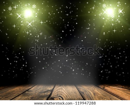 wood texture with natural patterns and flying stars - stock photo