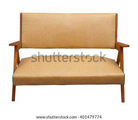 wooden armchair isolated on white, clipping path. - stock photo