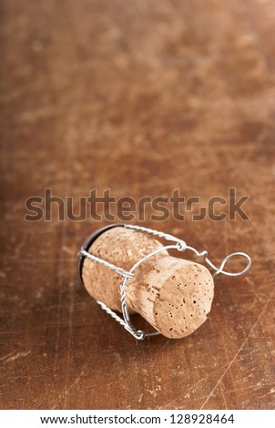 Wooden Background.Cork-stopper of champagne - stock photo
