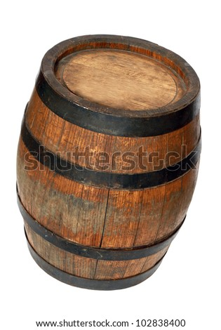 Wooden barrel with iron rings. Isolated on white background. With clipping path - stock photo