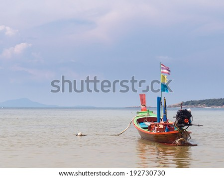 Wooden boats at the tropical beach, Thailand - stock photo