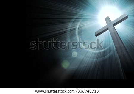 wooden cross on dark sky, abstract background