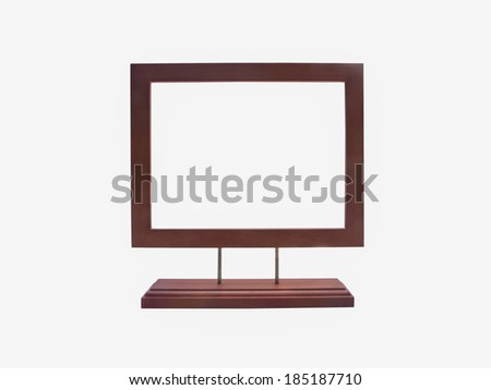 wooden frame with stand isolated on white background