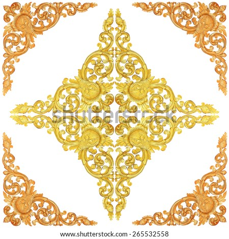 wooden gold paint decorative  of flower carved Pattern frame on white background - stock photo