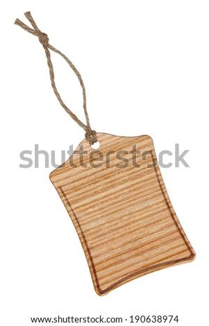 Wooden label with string, isolated on the white background. - stock photo