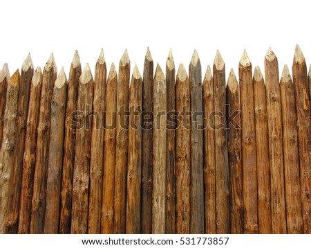 wooden paling isolated on white