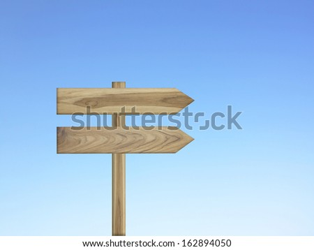 Wooden sign isolated on blue sky