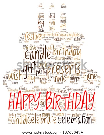 Word cloud concept of birthday cake isolated on white background