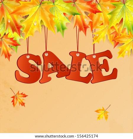 word sale and autumn maple leaves.seasonal autumn sale.raster - stock photo