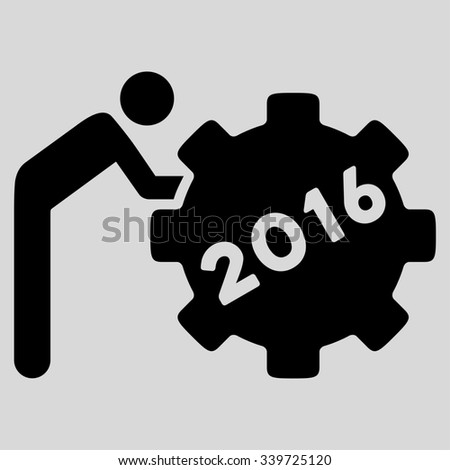 2016 Working Man glyph icon. Style is flat symbol, black color, rounded angles, light gray background. - stock photo