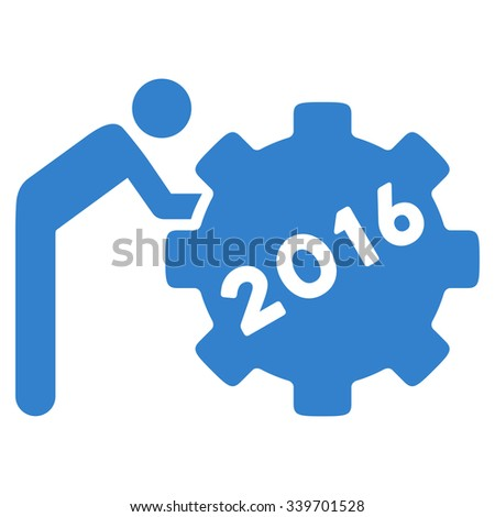 2016 Working Man glyph icon. Style is flat symbol, cobalt color, rounded angles, white background. - stock photo