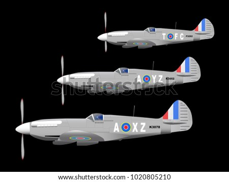 3 World War II fighter planes out on patrol against a black background.