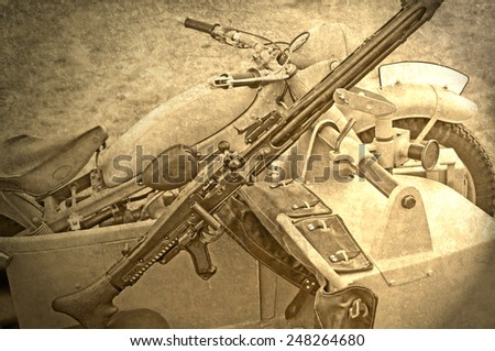 2.world war motorcycle with sidecar and a machine gun - stock photo