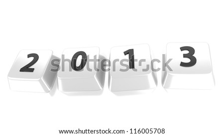 2013 written in black on white computer keys. 3d illustration. Isolated background. - stock photo