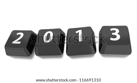 2013 written in white on black computer keys. 3d illustration. Isolated background. - stock photo