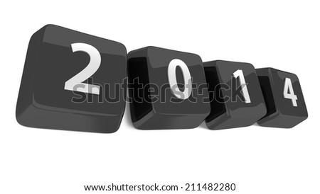 2014 written in white on black computer keys. 3d illustration. Isolated background. - stock photo
