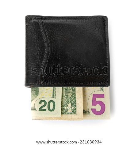 2015 written with banknotes in a purse isolated on white background - stock photo
