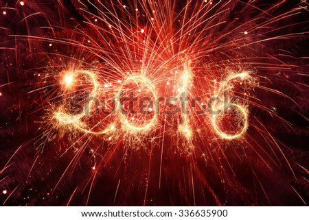 2016 Written With Fireworks  - stock photo
