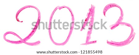 2013 written with pink lipstick isolated on white background - stock photo