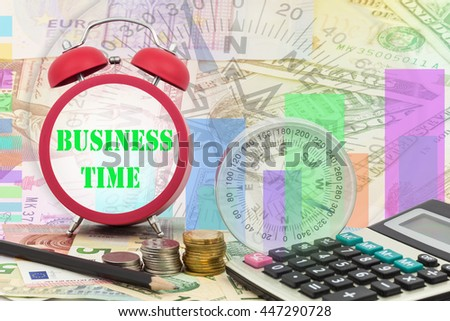 Written word business time on clock with compass ,coins and Calculator on money banknotes Euro and Dollars,concept of business planning and finance and savings - stock photo